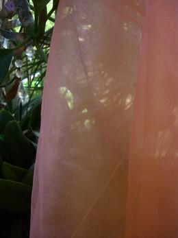 "Peach Hemmed Organza Fabric Iridescent 54"" x 108"""