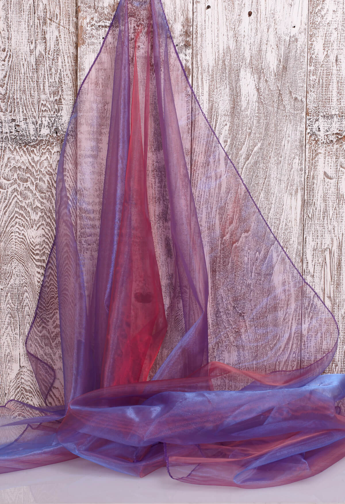 "Two Tone Organza Red & Blue Fabric ( 28"" width x 3 yds)"