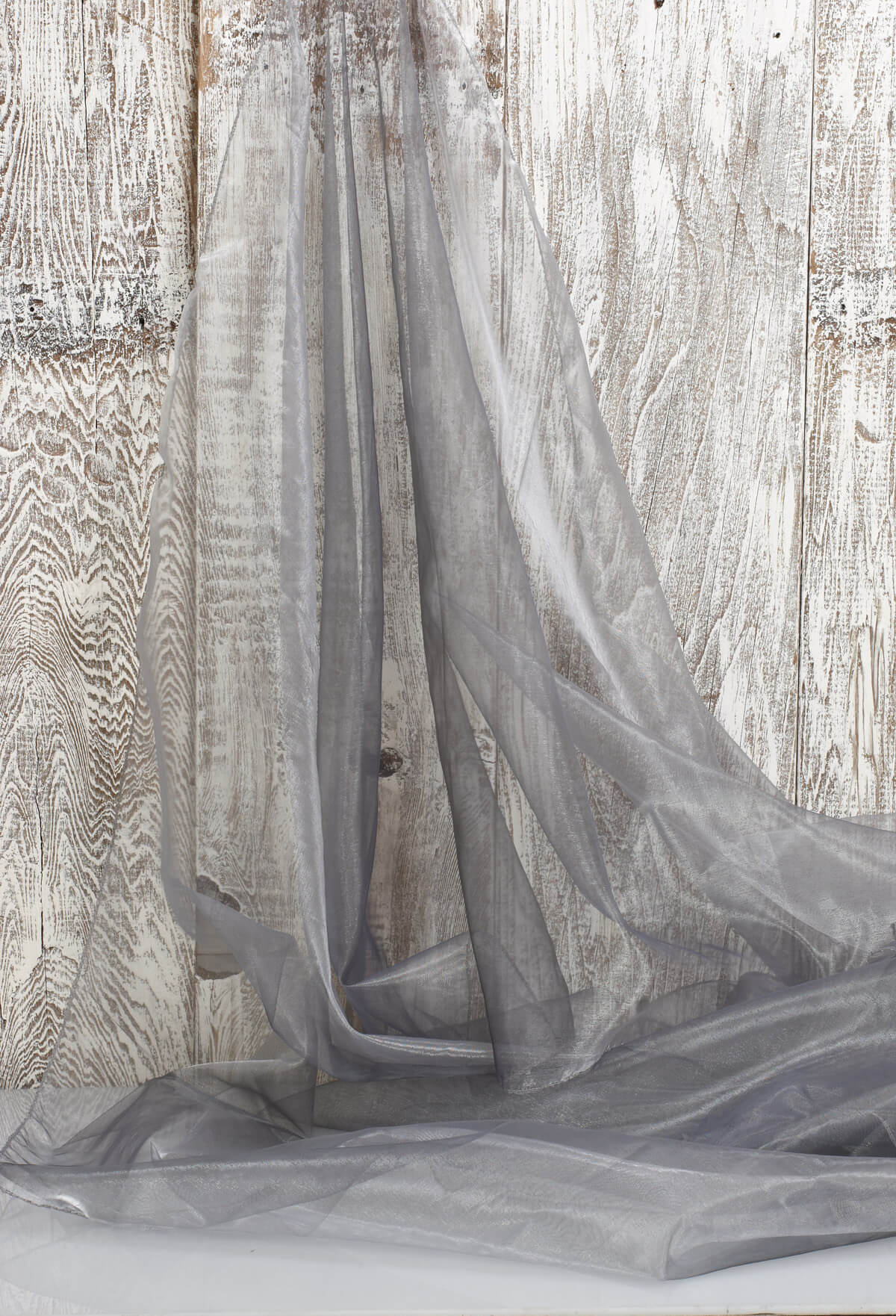 Organza Fabric Iridescent Silver & Black 9ft