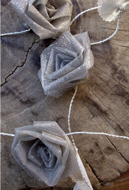 Silver Organza Rolled Rose Ribbon Garland
