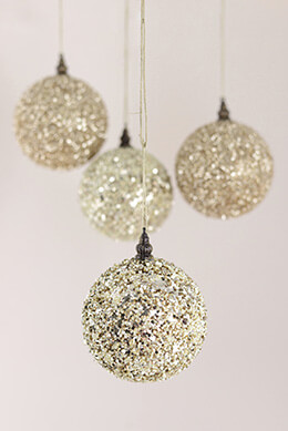 Champagne Glitter Balls 4in (Pack of 4)