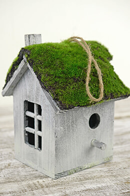 "Tiny 8"" Wood Moss Roof Bird House Decoration"