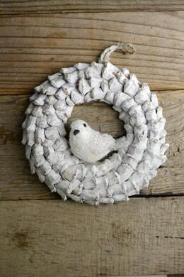 """White Pine Cone 6"""" Wreath with Bird Ornament"""
