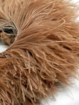 "Ostrich Feathers Trim Highest Quality Champagne Beige 7"" long x 5-1/2 yards"