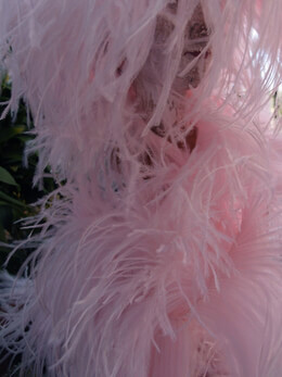 "Ostrich Feathers Trim Pink 7"" long x 5.5 yds"