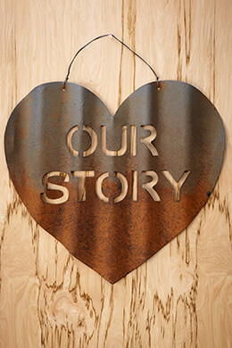 "Metal Rustic Heart ""Our Story"" Wedding Decoration"