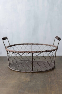 Rustic Oval Wire Basket  Medium