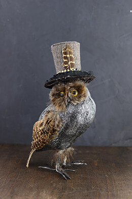 Owl with Top Hat 12in
