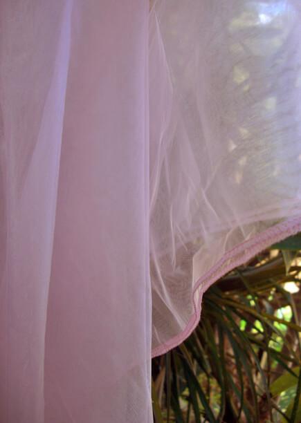 "Pink Organza Fabric Sheet  54"" x 108""  Fully Hemmed"
