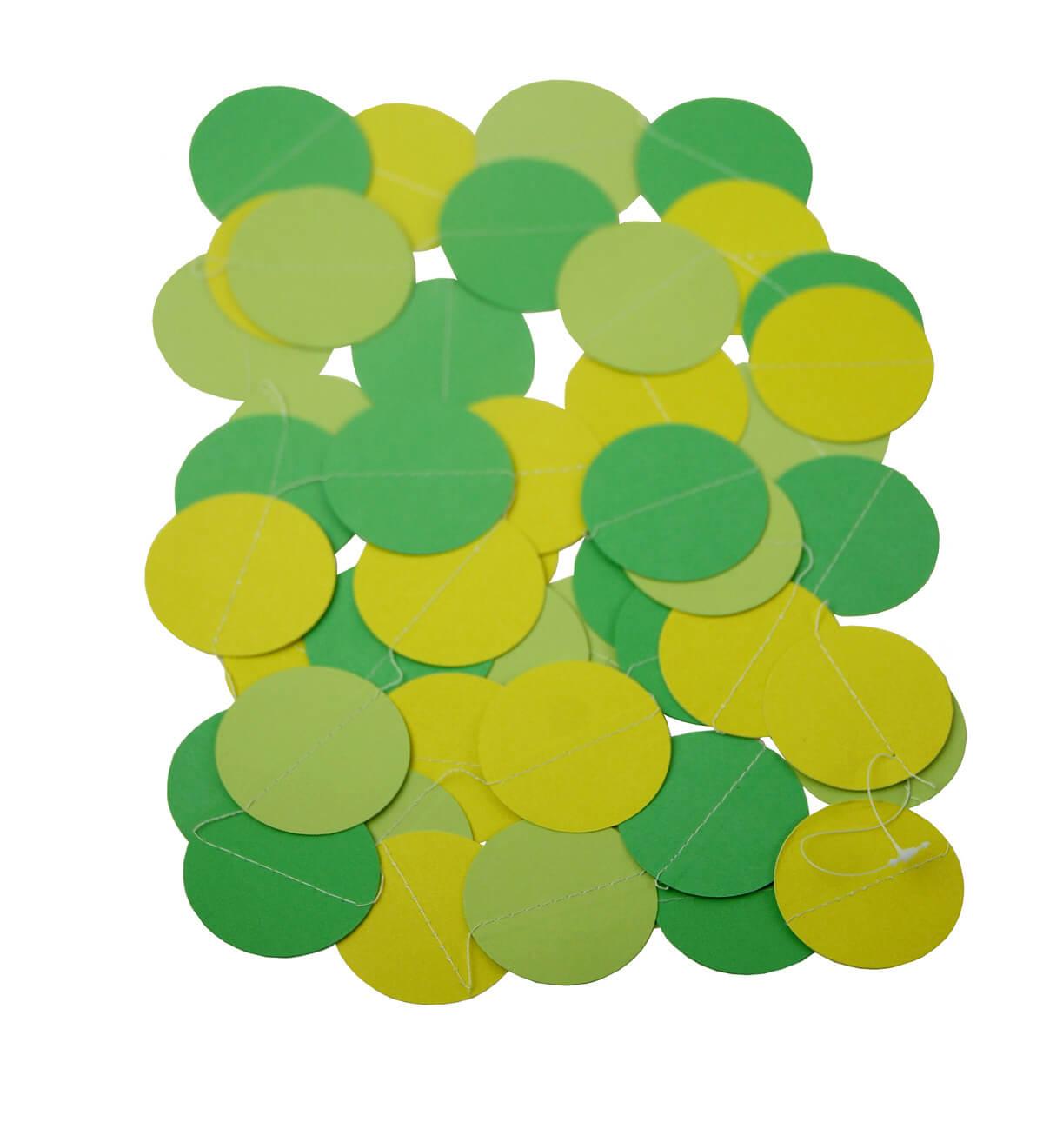 Paper Circle Garland Green Mix 10ft