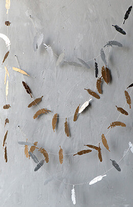 Paper Feather Garland Metallic 6ft (Pack of 6)