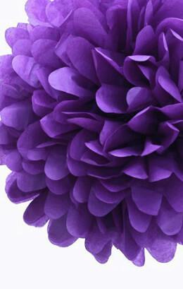 """4- 20"""" Purple Tissue Paper Pom Poms Balls"""