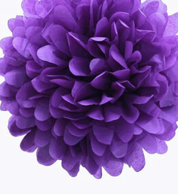 Tissue Paper Pom Poms Purple 20in | Pack of 4