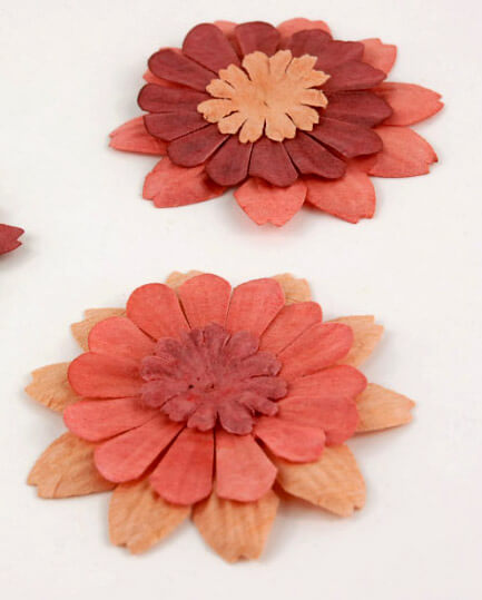 Paper Flowers Zinnia Orange Red (32 flowers/pkg )