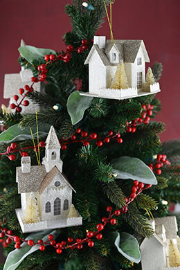 6 Putz Style Paper House Ornaments
