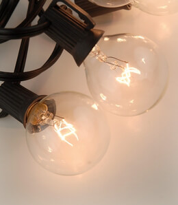Globe Lights 10ct 12in 12ft  -12in spacing  Black Cord