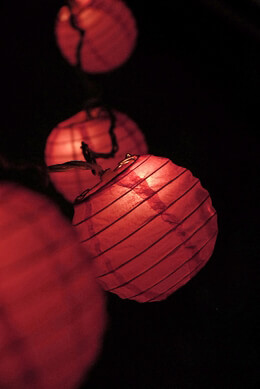 "4"" Paper Lantern Lights (10 Lanterns) FUCHSIA PINK - 11 feet"