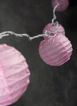 "4"" Paper Lantern Lights Set PINK  (10 LANTERNS) 11 feet"