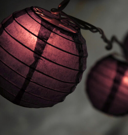 "4"" Paper Lantern Lights Set PURPLE  / BURGUNDY (10 LANTERNS) 11 feet"