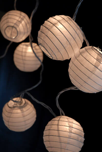String Of Lantern Lights : Paper Lantern Lights White (Set of 10)