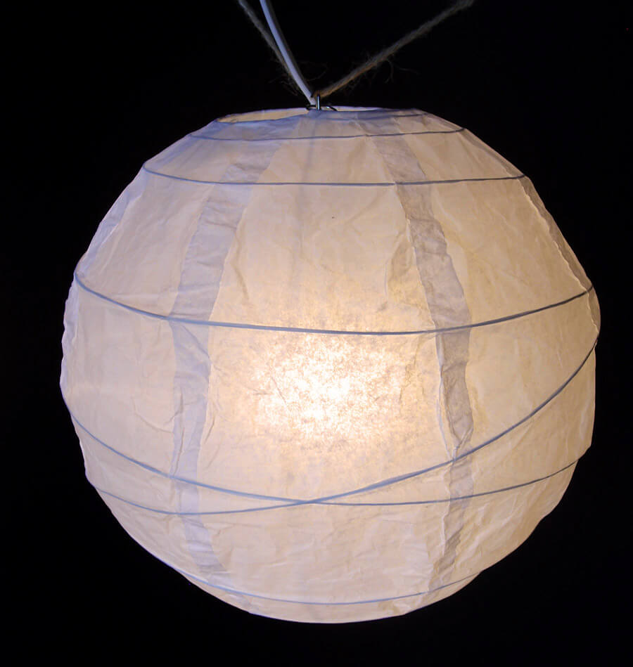 "10 Beige 8"" Paper Lanterns with Crisscross Ribbing"