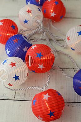 Patriotic Red White & Blue  Paper Lantern String Lights  6 FT