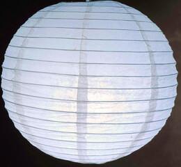 Paper Lantern White Glitter 12in