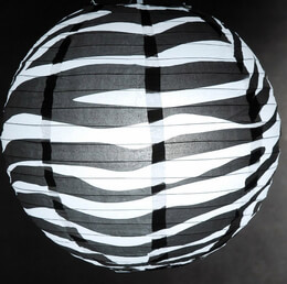 "14"" BLACK & WHITE ZEBRA Paper Lanterns"