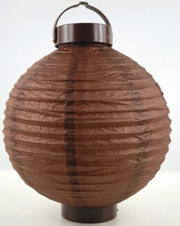 "Paper Lanterns LED Battery Operated 10"" Round Brown"