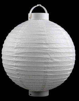 "12"" Paper Lanterns with 16 LED Lights WHITE"