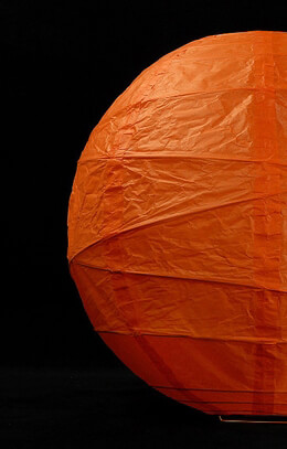 Paper Lanterns Orange Rice Paper 12 in. Round Lantern with irregular bamboo ribbing