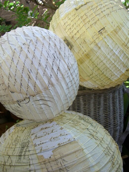 Vintage Script Paper Lanterns (Set of 4) 8,10 14 & 16 Inch