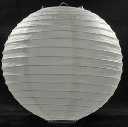 White Paper Lantern with Bamboo Ribbing 12in