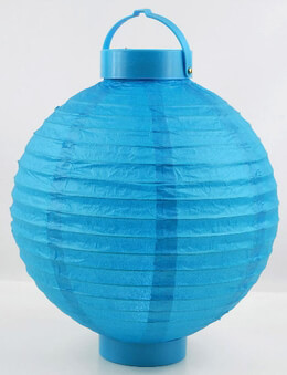 "Paper Lanterns with 12 LED Battery Operated Lights 10"" Blue Turquoise"