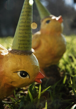 Paper Mache Decoupage Easter Chicks (2 chicks)