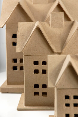 paper mache houses set of three 125 8 and 6