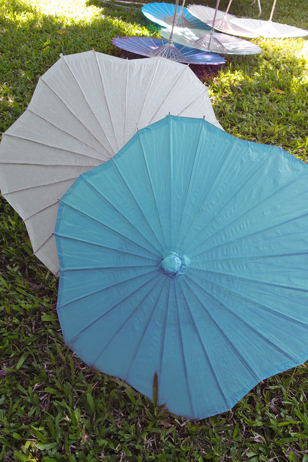 Paper & Bamboo Turquoise Parasols
