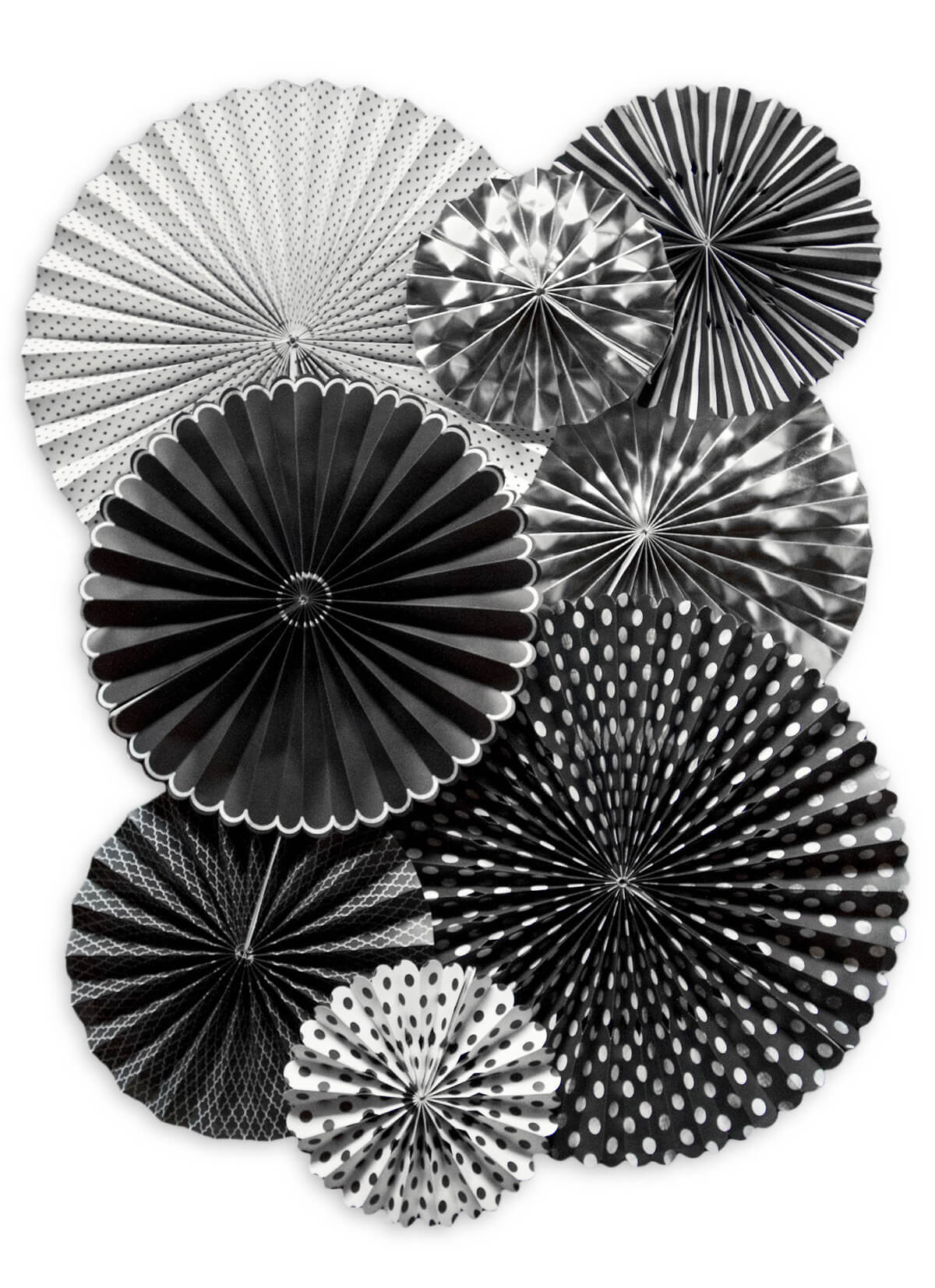 8 Black,White, Silver Paper Rosettes Party Decorations