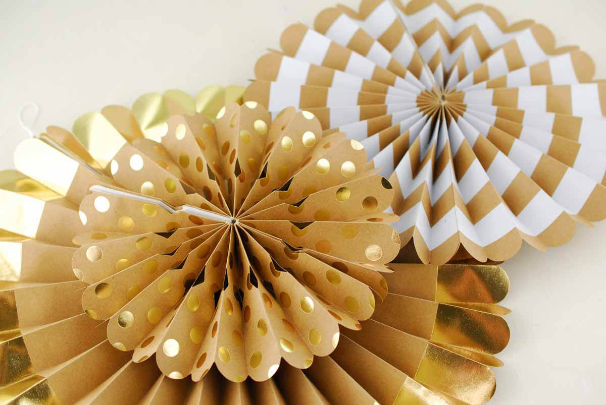 "8 Gold Paper Rosettes Party Decorations 17"" - 8"""