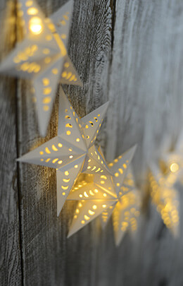 Paper Star String Lights  LED Battery Op. 10 Stars - 5.5ft