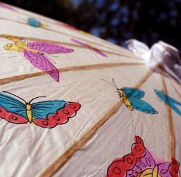 Parasol White with Butterflies 32in