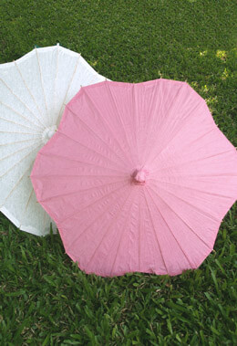 Large Pink Paper & Bamboo Parasol Pink 32in