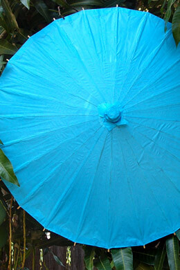 Turquoise Blue Paper & Bamboo Parasols Large 32in