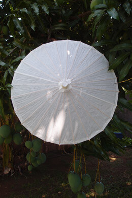 Parasol White Paper & Bamboo 38""