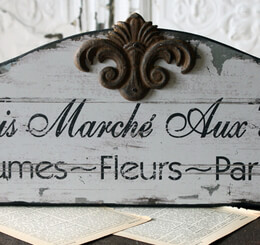 "Paris Flea Market ""Marche Puce"" Wood Sign"