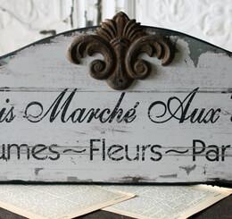 """Paris Flea Market """"Marche Puce"""" Wood Sign"""