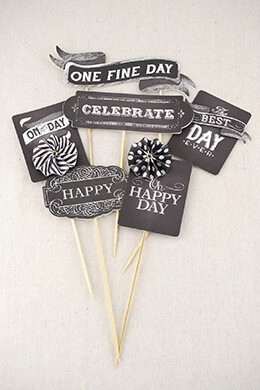 Party Picks Black & White (Pack of 6)