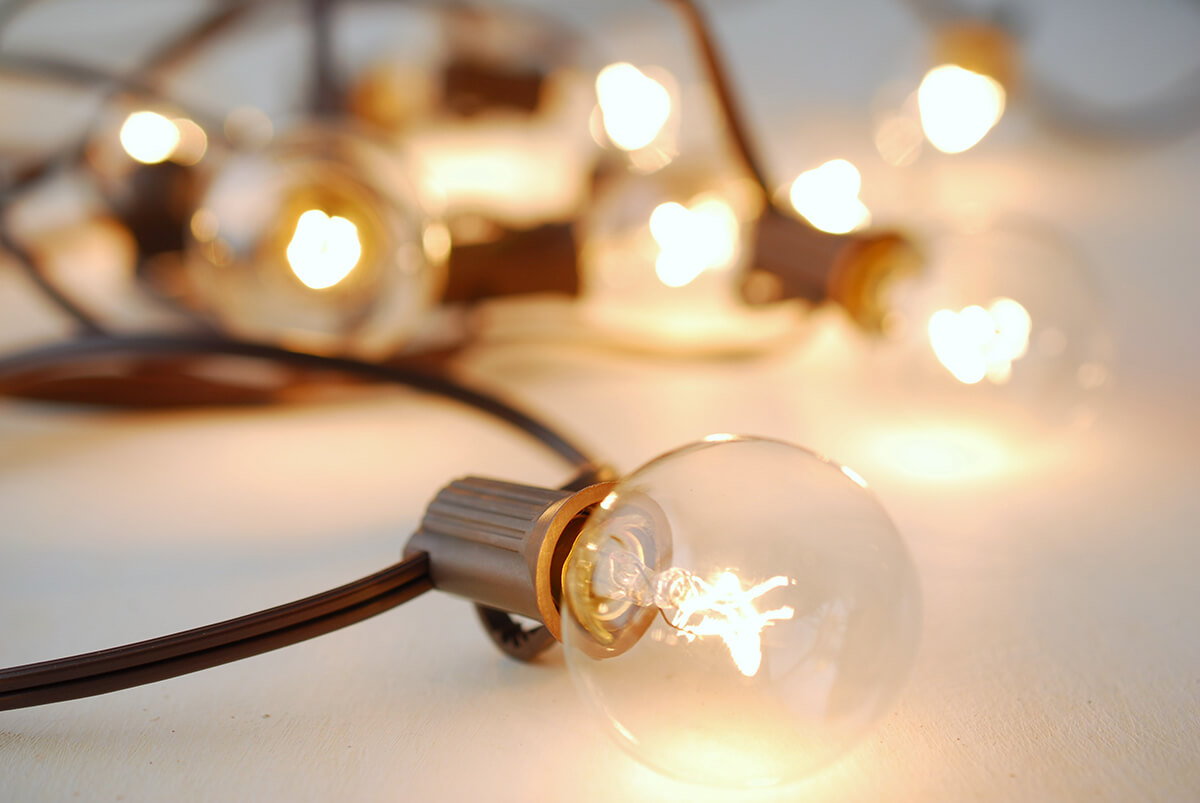 20CT G40 Light Set Patio Cafe Globe String Lights 19ft Brown Cord