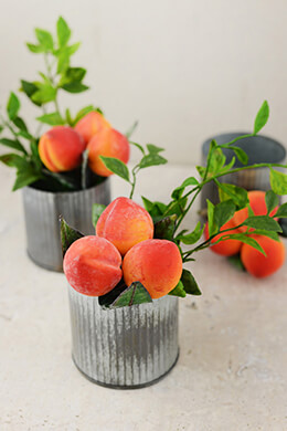 6 Peach Floral Fruit Picks