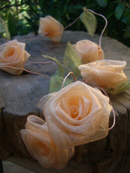 Peach Organza Rolled Rose Ribbon Garland